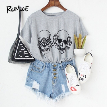 ROMWE-Womens-T-shirt-Tops-Korean-Summer-T-shirt-Women-Clothes-Grey-Skull-Print-Round-Neck